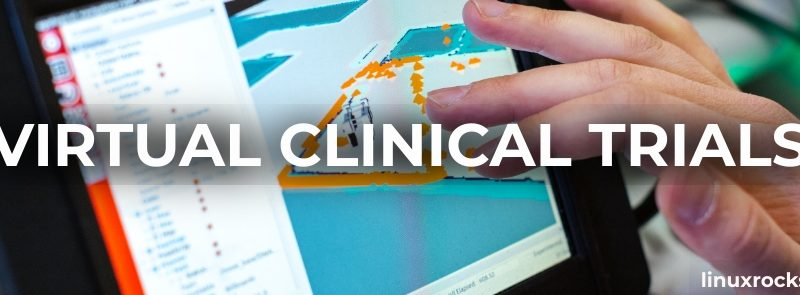 Virtual Clinical Trials: linuxrockstar.com. Image shows a tablet running a virtual clinical trial.